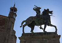 Trujillo, Spain - July 14, 2018: Equestrian statue of the conquistador Francisco Pizarro, the work of the American sculptor Charles Cary Rumsey, locat...