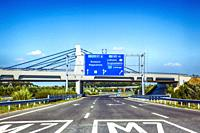 Overhead gantry sign over the M7 Hungarian Freeway heading to Budapest in Hungary.