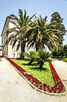 The pink Amadria Park Hotel Milenji in Opatija on the Adriatic Croatian Riviera.