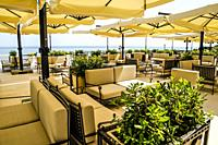 Giant patio umbrellas at the Hotel Kvarer in Opatija on the Adriatic Croatian Riviera.