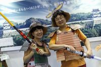 September 22, 2018, Tokyo, Japan - Visitors wearing samurai costumes pose for a photograph during the Tourism EXPO Japan 2018 in Tokyo Big Sight. The ...
