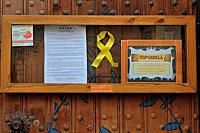 Yellow ribbon of the independencee movement in Catalonia, Spain.