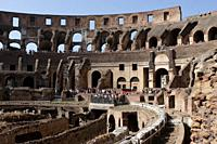 Rome, Italy - October 13, 2017: Tourists from around the world visiting one of ancient wonders, the famous Colosseum of Rome in Italy.