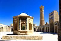 Bukhara, Uzbekistan - August 27, 2016: The inner court yard of Kalyan Mosque, was built in 1127 CE, part of Poi Kalyan Complex, a spectacular architec...