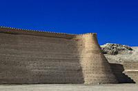 Walls of Great Ark Fortress of Bukhara, a renowned heritage site of Silk Road time in Uzbekistan.