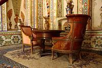 Bukhara, Uzbekistan - August 28, 2016: Interiors of Sitorai Mokhi Khosa Palace, a residence of Amir of ancient Bukhara.