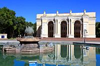 Tashkent, Uzbekistan - May 12, 2017: View of Navoi theatre, one of the famous landmark in the city that attract tourists.