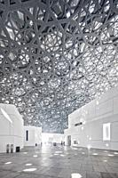 Interior of the Abu Dhabi Louvre Art Museum designed by the architect Jean Nouvel, Saadiyat Island, Abu Dhabi, United Arab Emirates.