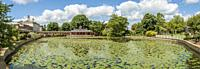 The Chinese Pond and house at Woburn Abbey and Gardens, near Woburn, Bedfordshire, England. It is the seat of the Duke of Bedford and the location of ...