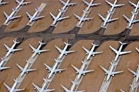 Retired Airliners in aircraft boneyard - Teruel airport, Spain - Aerial