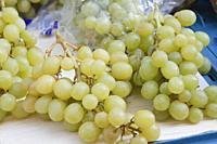 Fresh green grapes in Havelska market, Prague, Czech Republic.
