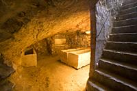 Hypogeum. Puig des Molins Museum-Necropolis, Ibiza town, Balearic Islands, Spain