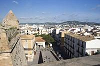 View of the town of Ibiza from the town wall, Balearic Islands, Spain