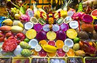Colorful fruits. Vegueta market, Vegueta neighborhood, Las Palmas city, Gran Canaria Island, The Canary Islands, Spain, Europe.
