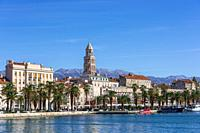Split city skyline domniated by Cathedral Bell Tower, Croatia.