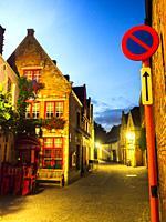 Elmstraat by night - Bruges, Belgium.