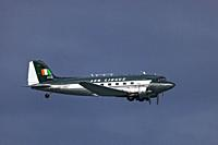 The Irish Historical Flight Douglas DC 3 in vintage Aer Lingus livery flying over Bray, Co. Wicklow, Ireland.