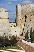 Orejón (part of the bulwark) protecting the accesst to the Portón Nuevo (New Gate) Ibiza Town, Balearic Islands, Spain.