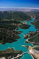 Aerial view of the Pantà de la Llosa del Cavall (Reservoir), Sant Llorenç de Morunys, Catalunya, Spain.