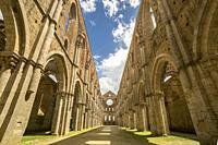 The roofless abbey of San Galgano, Chiusdino village, Siena district, Tuscany, Italy.