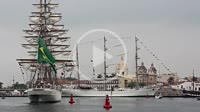 School boat Cisne Branco of the Navy of Brazil and The school ship Cuauhtémoc of the Mexican Navy anchored in the bay of Cartagena for the sailboat sh...
