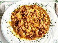 Callos with chickpeas. Tripe.