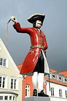 Kagmanden figure on the market square in Tonder, Denmark.