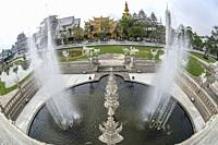 Water fountain at Wat Rong Khun (White Temple), Chiangrai, Thailand