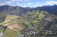 Wine Farm Aerial, Helderberg, Stellenbosch, South Africa.