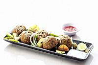 chickpea falafel traditional middle eastern food snack platter starter set.