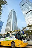 Electric City-Bus (E-Bus) on a street of Shenzhen. Guangdong Province, China.