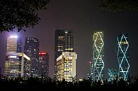 High-rise buildings in Futian Central Business District (CBD) illuminated at night. Shenzhen, Guangdong Province, China.