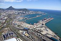 Port of Cape Town, in the background Signal Hill (right) and Lions Head (left). South Africa.
