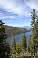 View from Inspiration Point, Emerald Bay, Lake Tahoe, California, United States.