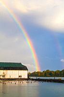 Rainbow over the Fraser River at Steveston, British Columbia.