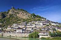 old houses in historic landmark berat balkan town albania.