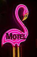 Canada, Alberta, Calgary. Neon motel sign of pink flamingo, in Glenbow Museum.