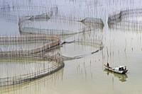 China, Fujiang Province, Xiapu County, Cages with nets for raising fish in open sea, Fish Farming, boat.