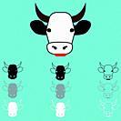 Cow face different colour icon set.