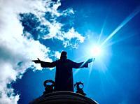 A ray of light illuminates Cristo Rey monument in the Cerro del Cubilete in Silao, Guanajuato, Mexico
