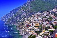 City of Positano on Amalfi coast in the province of Salerno, Campania, Italy.