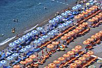 POSITANO, ITALY - JUNE 15, 2017: Mediterranean beach in Positano on Amalfi Coast, Italy.