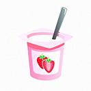 Strawberry yogurt with spoon inside on white background