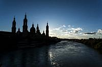 El Pilar Basilica and Ebro River, Zaragoza, Spain