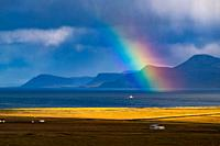 Rainbow in the nature of Snaefellsnes peninsula, Iceland.