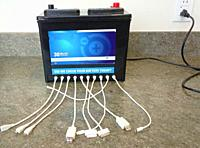 car battery outfitted to recharge many devices.