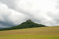 06. 06. 2017, Hechingen, Baden-Wuerttemberg, Germany, Europe - A view of Hohenzollern Castle on the Hohenzollern mountain that is situated between the...