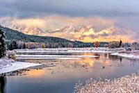 Mount Moran Fall Sunrise following a Snowstorm.