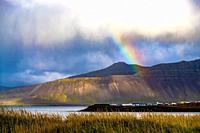Rainbow over Snaefellsnes peninsula, Iceland.