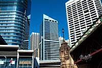 Sydney, New South Wales, Australia - A view from the waterfront at Darling Harbour of Sydney´s cityscape of the Central Business District.